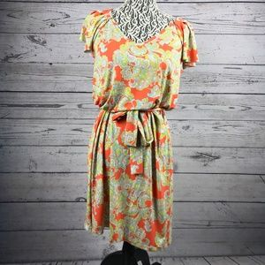 Nine West Orange Floral Print Tie Waist Dress